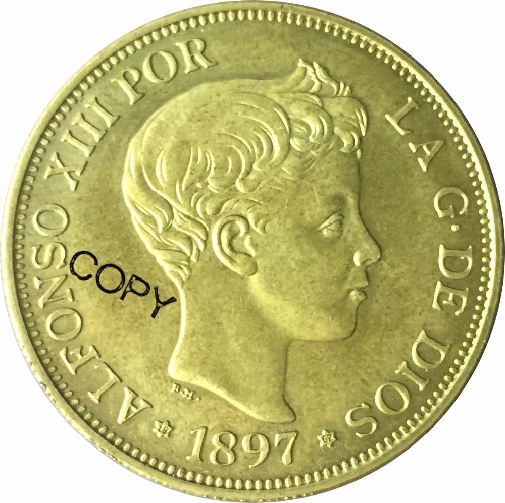 Espanha 100 Pesetas 1897 Cópia moeda de Ouro de Alfonso XII Latão de Metal Moeda MOEDAS Comemorativas