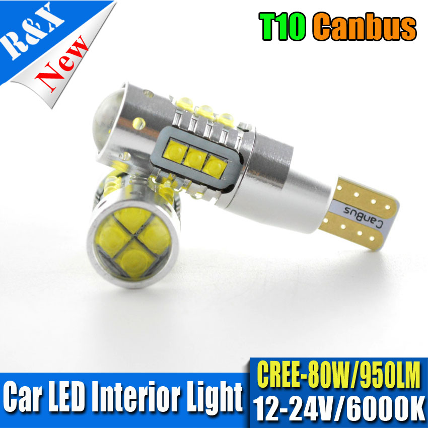 2x80W W5W CANBUS T10 194 Error Free Car LED Bulbs Automotive CAN BUS Lights White Color Auto Lamps AC12V 24V wholesale 10pcs lot canbus t10 5smd 5050 led canbus light w5w led canbus 194 t10 5led smd error free white light car styling