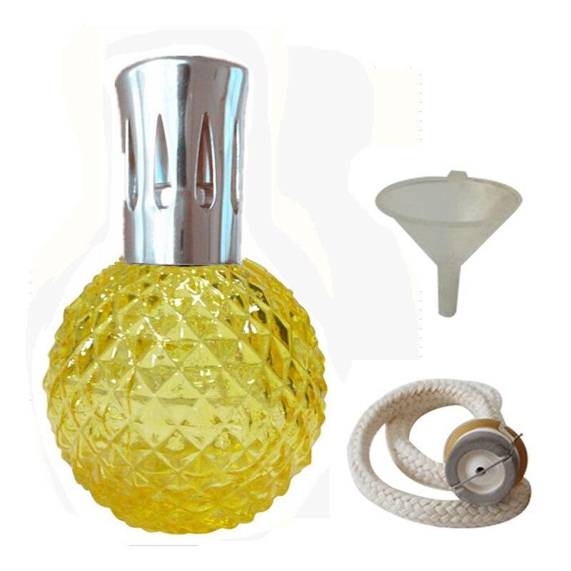 Арома Рид диффузор-100 мл Аромат Эфирное масло лампа стеклянная бутылка с каталитическим благовоний сжигание фитиль и фунель для Aromatherap - Цвет: Yellow silver