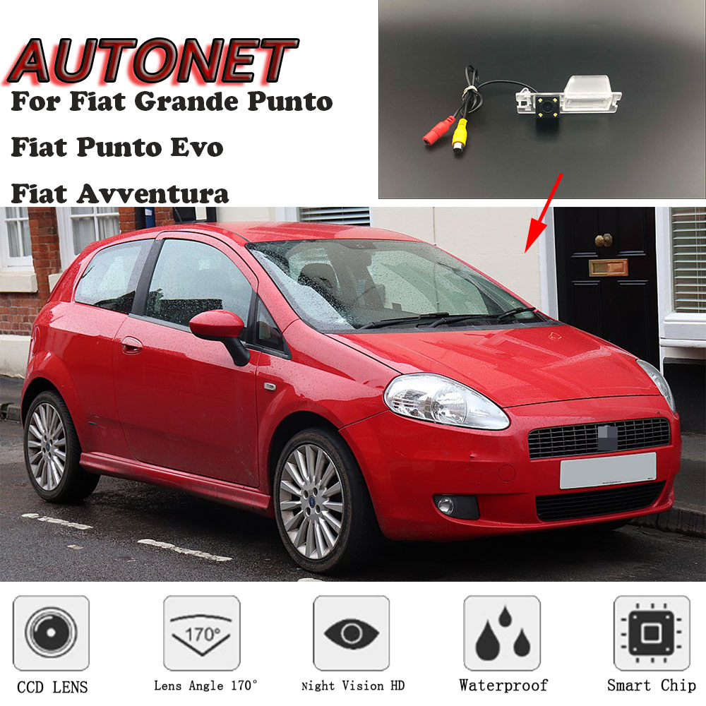 AUTONET HD Night Vision Backup Rear View Camera For Fiat Grande Punto Fiat Punto Evo Fiat Avventura 3D 5D Hatchback