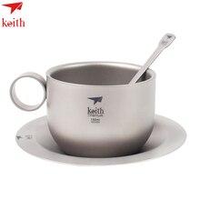 keith Coffee Mug Titanium Coffee Cup Outdoor Camping Double-wall Tea Mug With Spoon Ultralight Free Shipping  цена и фото