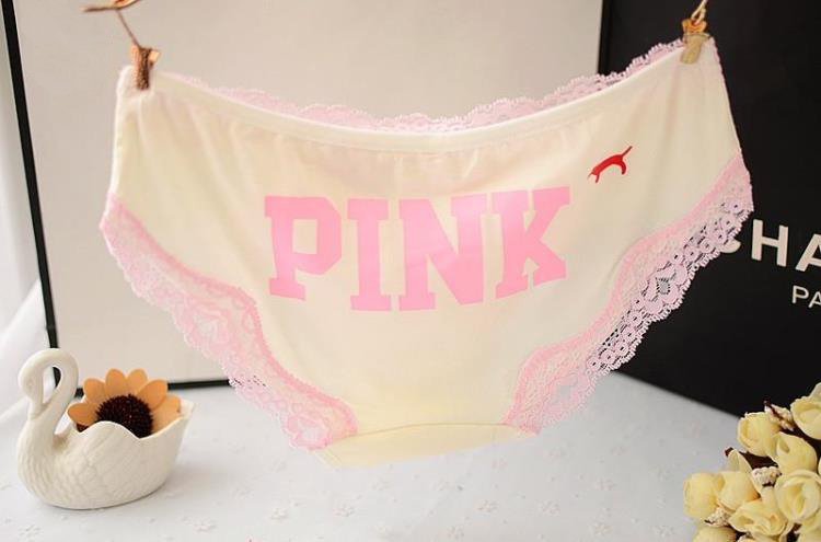 New Brand Woman Cotton Cute Panties Vs Love Pink Women Briefs Lace Decoration for Girls Calcinhas Underwear Lingerie Intimates (5)