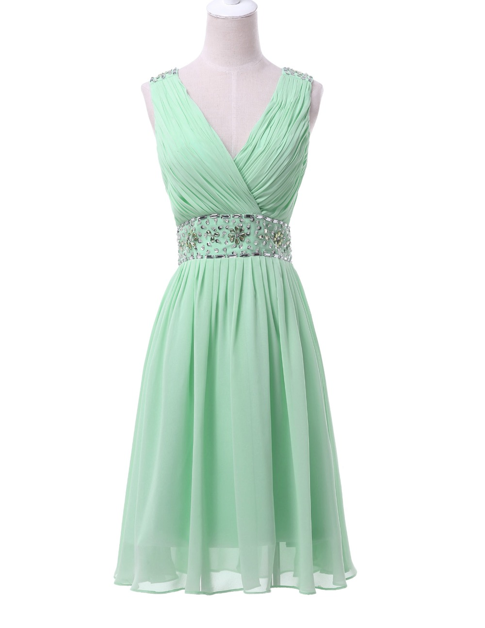 Grace karin real picture chiffon mint green short bridesmaid dresses grace karin real picture chiffon mint green short bridesmaid dresses knee length v neck prom party dress beaded and sequins in bridesmaid dresses from ombrellifo Gallery