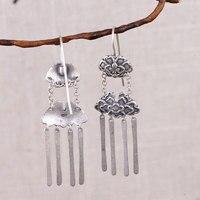 FNJ Peony Flower Earrings 925 Silver Tassel Original S925 Sterling Silver Drop Earring for Women Jewelry