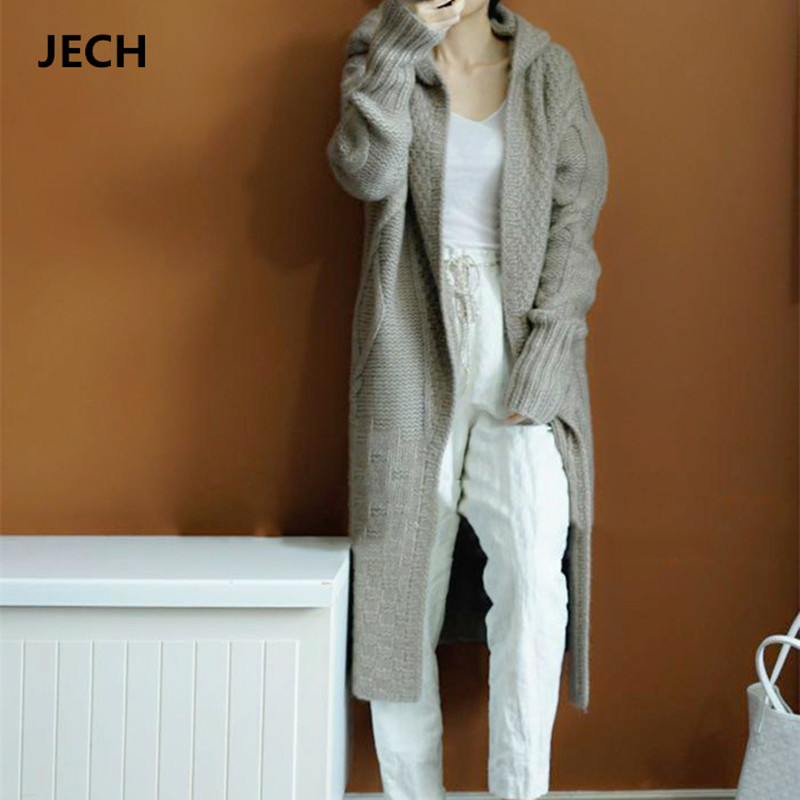 Winter Hooded Cashmere Wool Long Cardigans Coats JECH Winter Casual Women Solid Sweaters with Zipper Long Sleeve Knitted Female