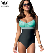 NAKIAEOI One Piece Swimsuit Plus Size Swimwear Women Swimsuit 2017 Summer Large Beach Vintage Retro Bathing Suits Swim Wear XXL