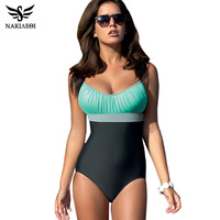 NAKIAEOI One Piece Swimsuit Plus Size Swimwear Women Swimsuit 2017 Summer Large Beach Vintage Retro Bathing