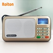Rolton W505 MP3 플레이어 미니 휴대용 오디오 스피커 FM 라디오 LCD 화면 지원 TF 카드 재생 음악 높은 LED 손전등