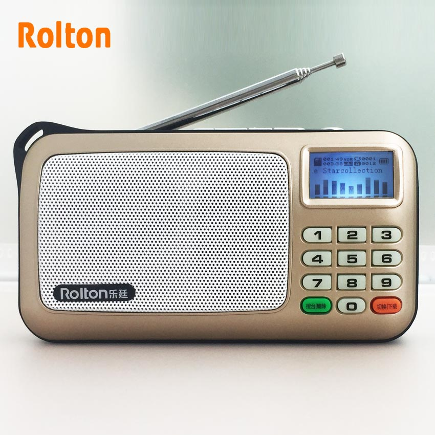 Rolton W505 MP3-Player Mini-tragbare Audio-Lautsprecher FM-Radio mit LCD-Bildschirm TF-Karte für die Wiedergabe von Musik Hohe LED-Taschenlampe