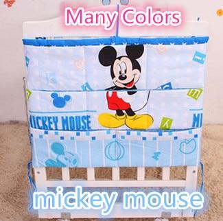Forfremmelse! Tegneserie baby seng bomuld mesh hængende tasker opbevaringsflaske Bleer Tøj organizer sengetøj sæt
