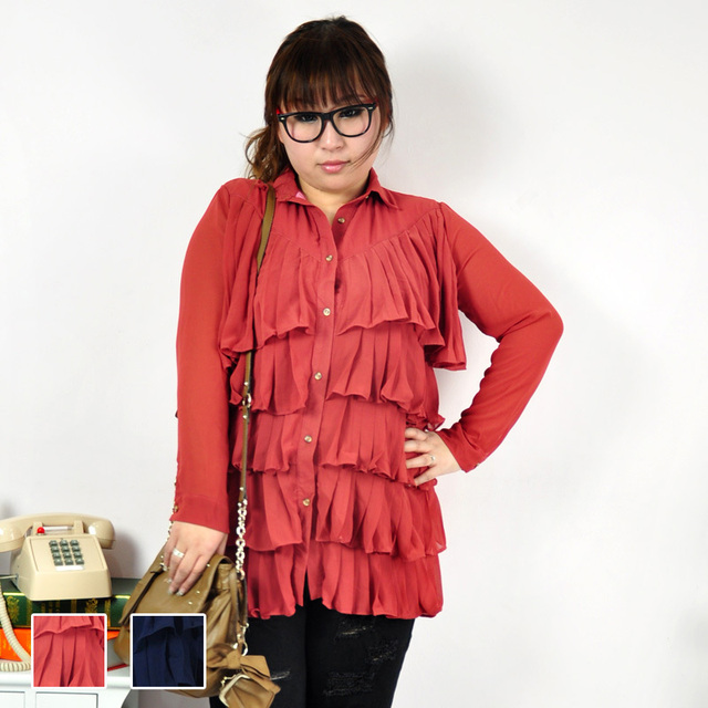 b313952a86 plump girl Plus size clothing plump girl spring chiffon ruffle long sleeve  shirt a5604-in Blazers from Women's Clothing & Accessories on ...