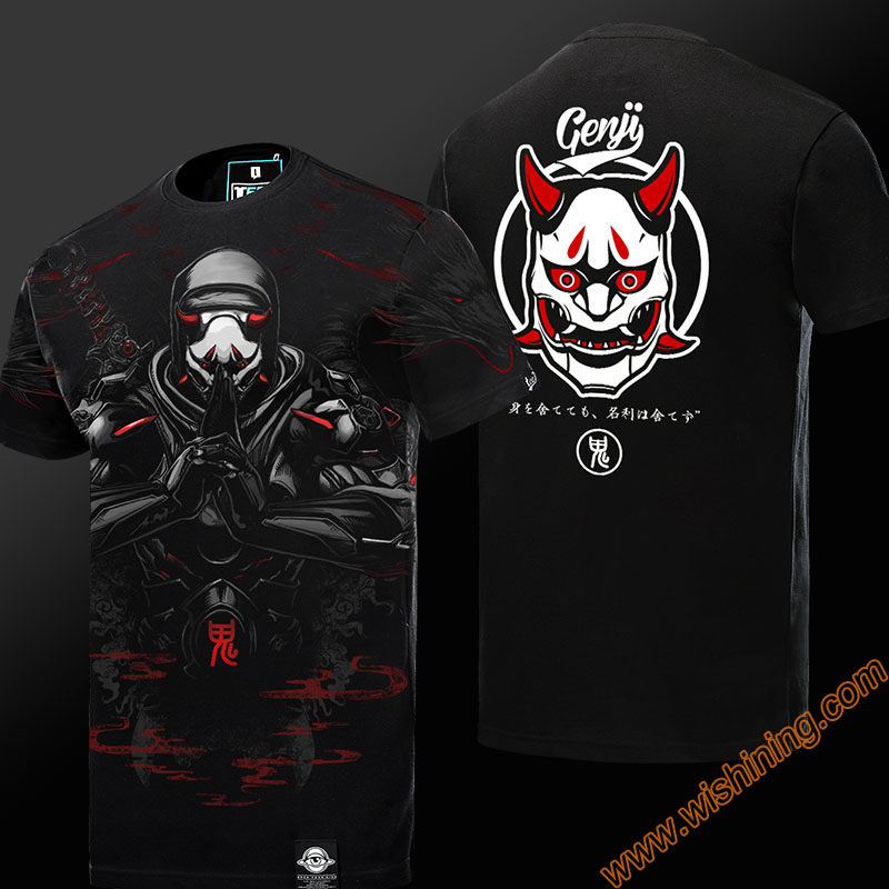 Limited Editon 3D OW Oni Genji T-shirt Short Sleeve Black Mens Tshirt Mens Boys Plus Size 3XL 4XL OW Reaper Cosplay T-shirts
