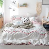 White Pink Bohemia Boho Bedding set Queen King size Girls Cotton Bed sheet Fitted sheet Duvet cover Bed cover set Pillowcase