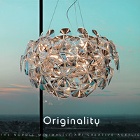 Nordic LOFT Retro Hand Woven Acrylic Contracted Cone Clear Apple Laser Chandelier for Bar Coffee Hall projection Ball Light