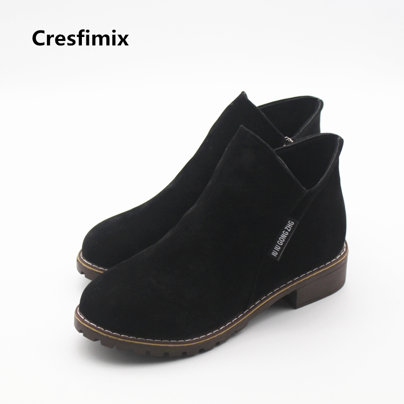 Cresfimix botas femininas women casual street round toe ankle boots with side zipper lady cool and comfortable boots lady shoes new arrival women shoes comfortable patnet leather round toe slip on for women mid calf boots side zipper lady punk shoes red