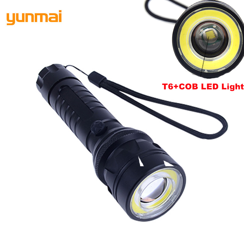 COB Flashlight Adjustable Self Defense Camping Torch Cree XM L-T6 LED Flash Light Zoom Waterproof Super Power Lanterna LED Lamp 6000 lm 3 led xm l t6 led flashlight torch 3t6 self defense lanterna 16850 flash light linterna led battery charger