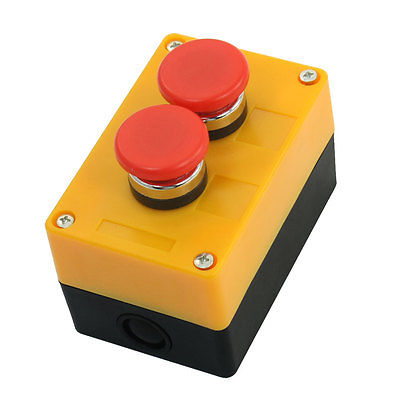 Ui 400V Ith 10A SPDT Momentary Plastic Flat Head Double Push-Button Switch