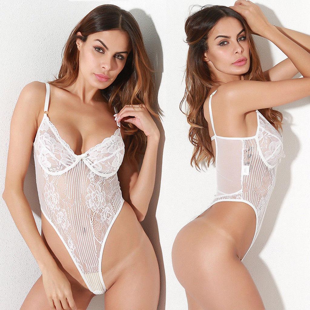 Womens Sexy Lingerie Stretch Lace Catsuit Hot Exotic Transparent Bodysuit Backless Underwear Nightwear Body Lenceria Femenina