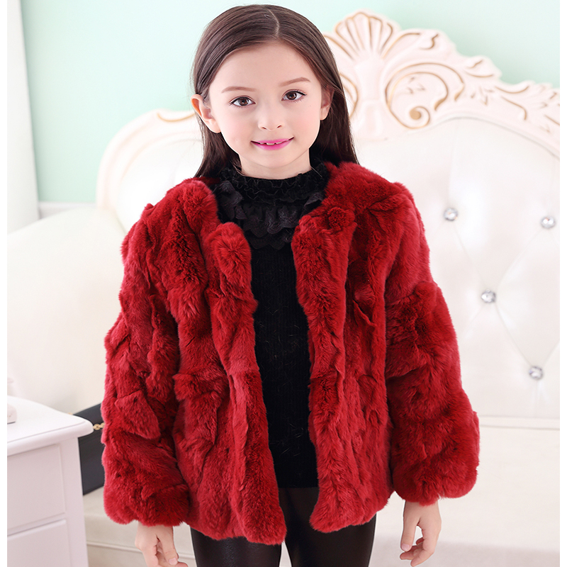 2017 Children's Real Rabbit Fur Coat Winter Warm Baby Outerwear JacketsKids Solid Short Colthing High-quality Coat O-Neck C#11 2017 winter new clothes to overcome the coat of women in the long reed rabbit hair fur fur coat fox raccoon fur collar