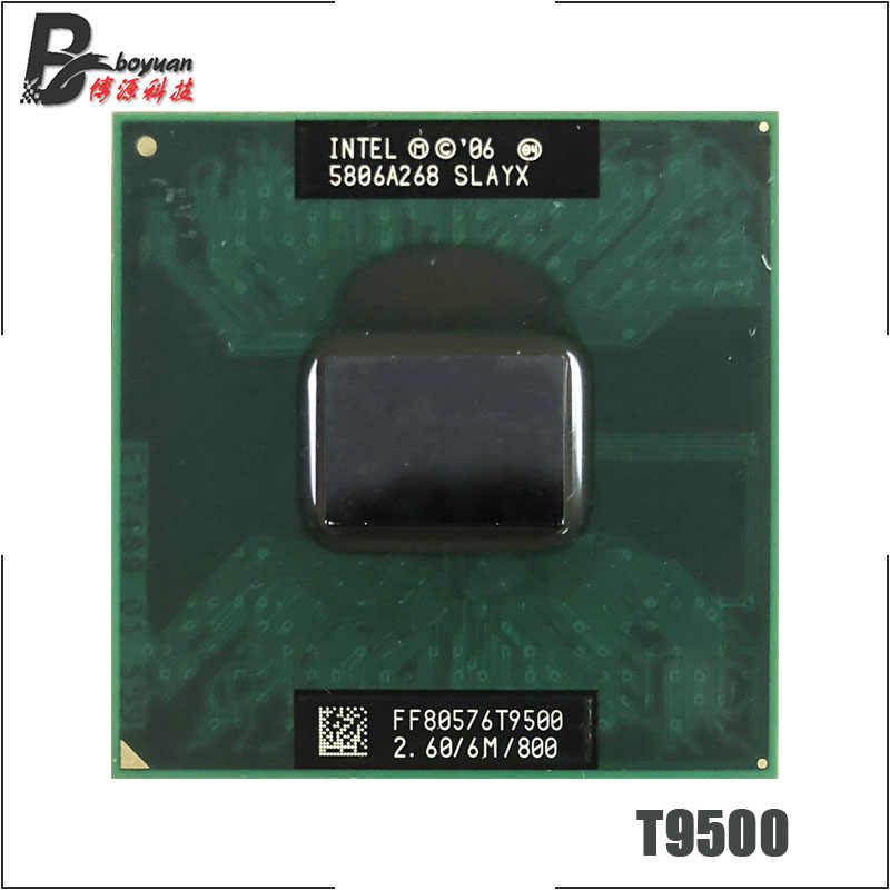 Intel Core 2 Duo T9500 SLAQH SLAYX 2,6 GHz, Dual-Core, doble-hilo CPU, procesador 6M 35W Socket P