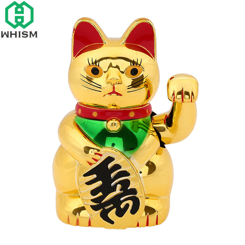 WHISM Shaking Hand Lucky Cat Wealth Waving Cats Classic Gold Oranment For Home Office Decoration Wealth Fortune Feng Shui Crafts