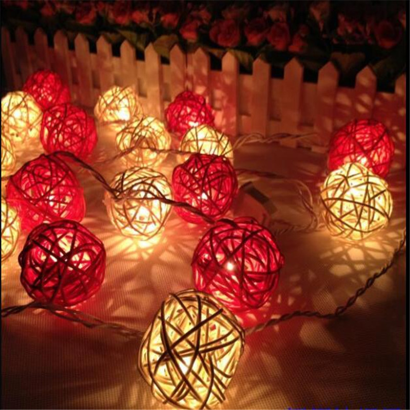 3M Length, 20pcs Ivory White/ Red Handmade Rattan Balls String Lights Fairy  Party Home
