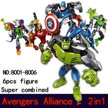 Супер сочетание morph Building Blocks Набор Модель Marvel DC Super Hero Мстители Железный Человек Халк Minifigures Кирпичи игрушки 2in1