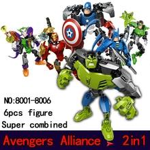 Super combination morph Building Blocks Set Model Marvel DC Super Hero Avengers Iron Man Hulk Minifigures