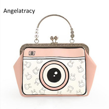 2017 New Arrival Lolita Style Circular Rabbit Cartoon Chain Camera Floral Metal Frame Crossbody Women  Shoulder Tote Shell Bag