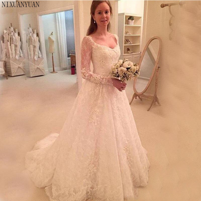 Vintage A-line Wedding Dresses Illusion Long Sleeves V-neck Lace Bridal Gowns Sweep Train Wedding Gowns For Church Wedding