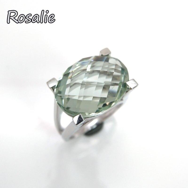 Розали, 13ct реального Натуральный зеленый аметист овальный 13*18 мм драгоценных камней простой и твердый 925 пробы silve женщин кольцо с шкатулка
