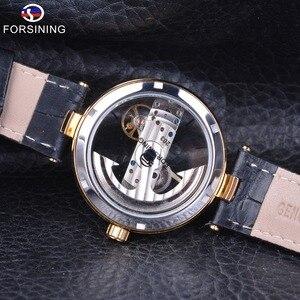 Image 4 - Forsining Reloj de esqueleto dorado para hombre, correa de cuero genuino, automático, resistente al agua, 2017