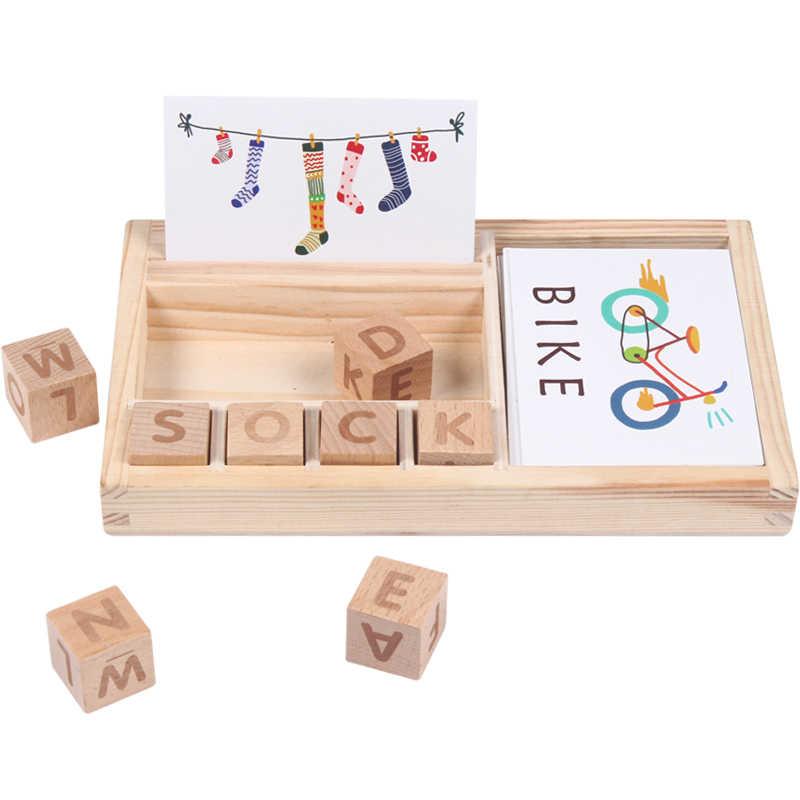 Baby Speelgoed Leren Engels 60pcs kaarten Hakken Gebouw Houten Blok Leren en Educatief Tafel Spel Cadeaus voor Kinderen
