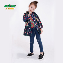 Girls stamp (coat + belt) Clothing 2016 Kids Boutique Designer Autumn Clothes