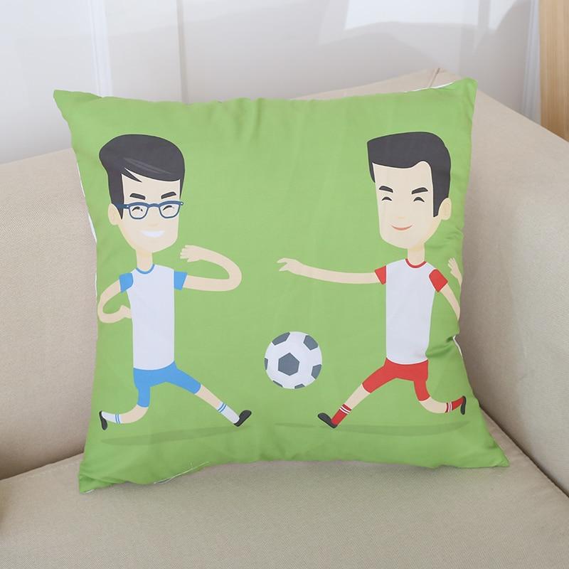 Pillow Cover Modern Style Sofa Lumbar Pillowcase Home Decor Football Print Cushion Cover Lumbar Office Pillow Case in Cushion Cover from Home Garden