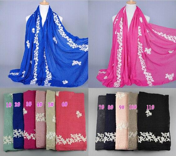 NEW design women s fashion embroider flower cotton popular long scarf wrap head Muffler hijab muslim