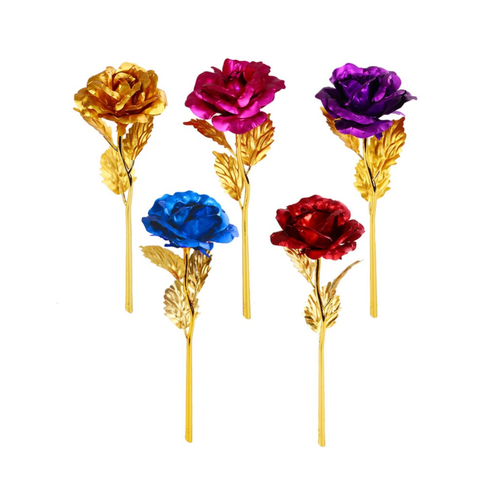 24k Foil Plated Gold Foil Crystal Rose Valentines Day Rose Gift Festive Party Supplies Crafts Figurines Miniature Artificial Decorations