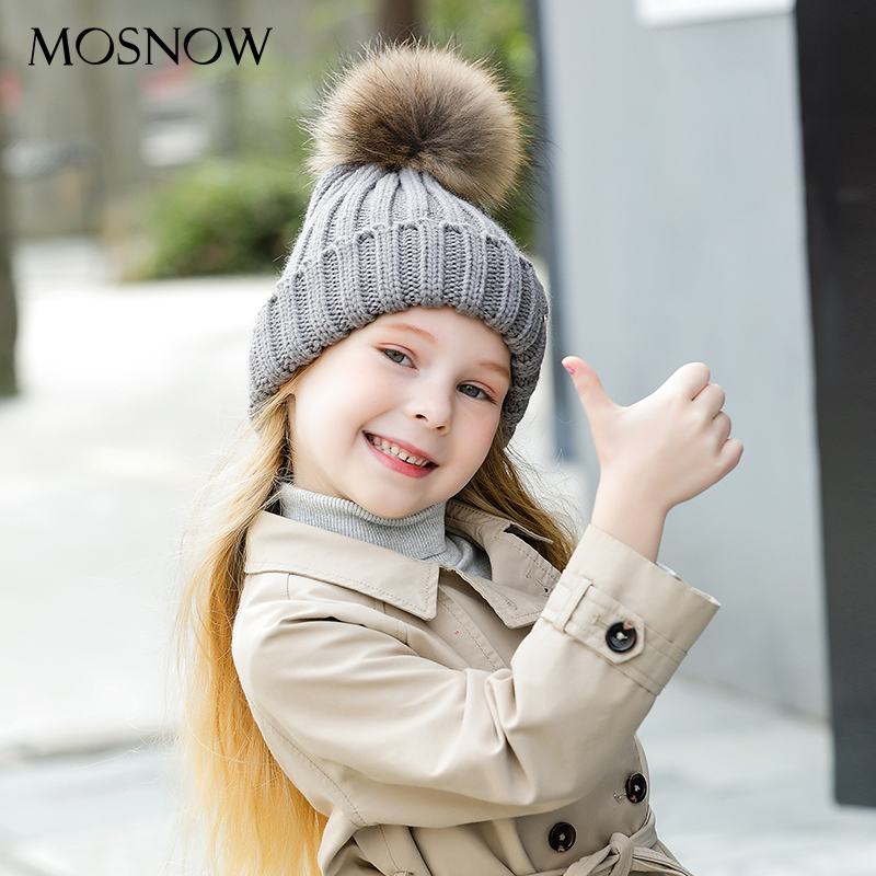 MOSNOW Hats For Girls Wool Fur Pompom High Quality 2018 Winter Brand New Fashion Knitted Caps Children   Skullies     Beanie   #MZ751C