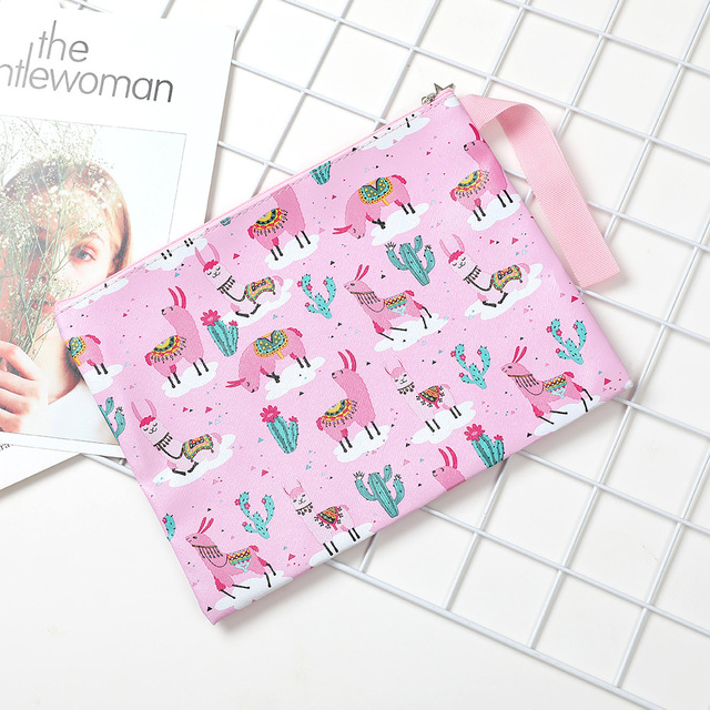 Alpaca Cactus Cartoon Printing File Bag Document Bag File Folder Stationery Filing Production School Office Supply 4