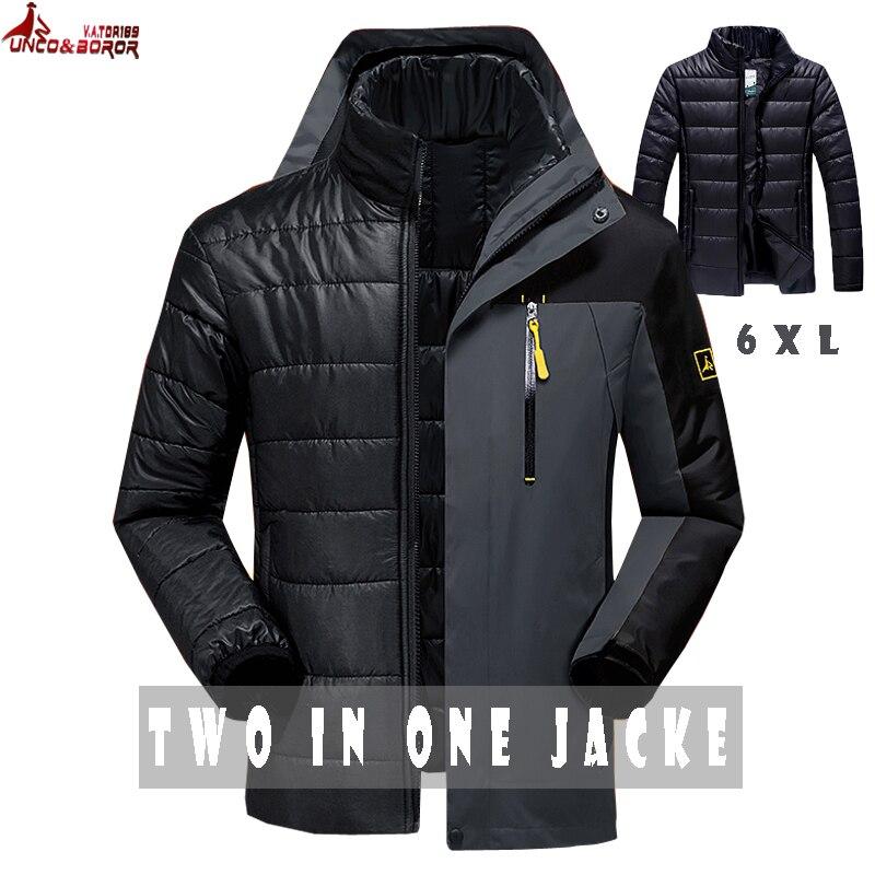 UNCO&BOROR new winter women men`s jacket outwear 2 in 1 waterproof windbreaker male coats warm man   parka   coats brand clothing