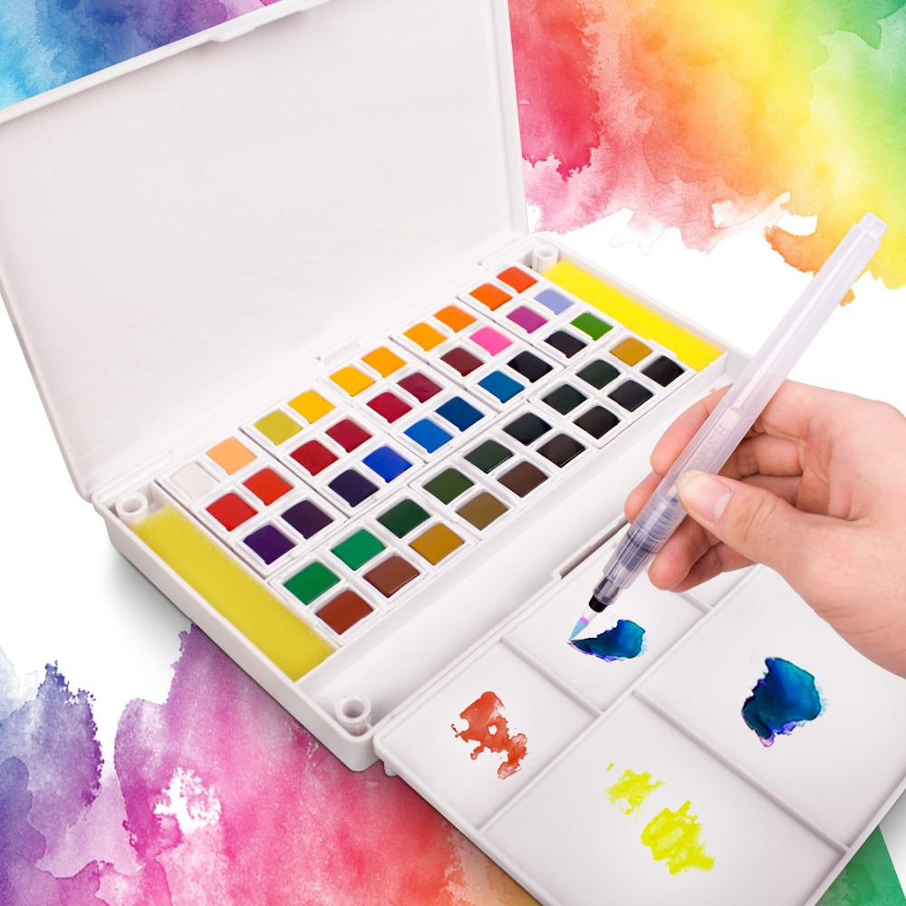 Watercolors Set Of 12/18/24/36 Colors Portable Travel -Watercolor Pigment Portable Painting With Water Color Brush Pen For Artst