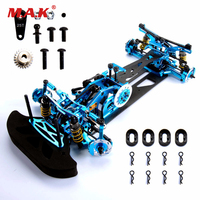 1/10 scale G4 Alloy Carbon & Fiber 1:10 Rc Drift Car Frame Kit For HSP HPI 1:10 4WD Drift RC Racing Car accessories
