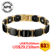 Noproblem Ion Balance anti-fatigue choker tourmaline power hologram bracelet beads germanium infinity punk men bracelets 099(Hong Kong)