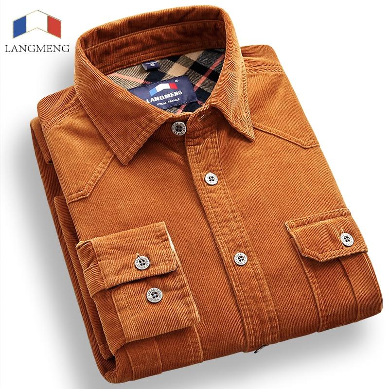 Langmeng 100% Cotton Vintage Corduroy dress Shirt Men Slim Fit New Casual Shirts Mens Brand Long Sleeve Clothes Camisa Hombre