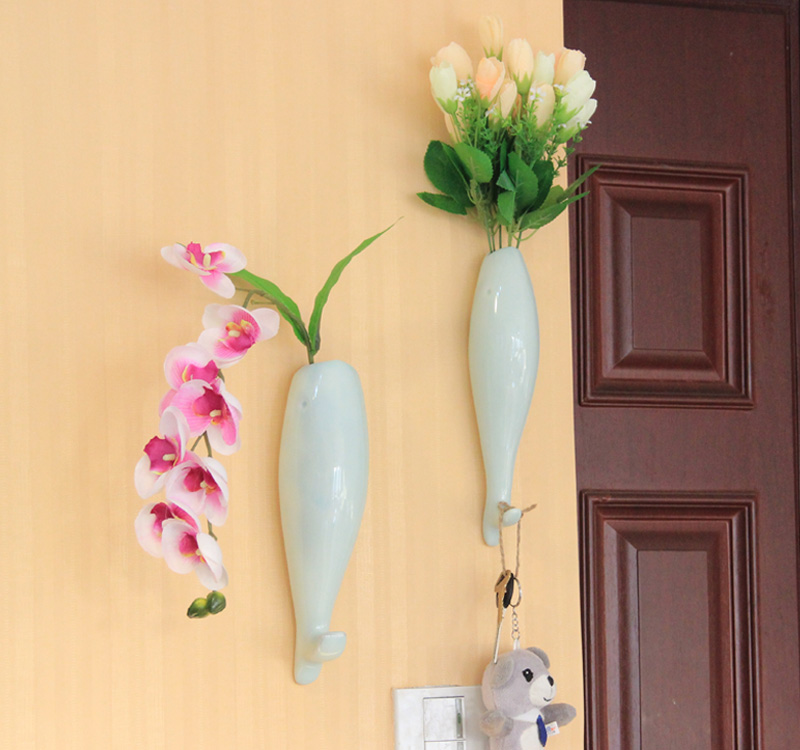 Creative personality of ceramic wall hanging flower vase fish lovers ...
