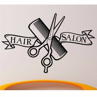 Modern Design Barber Shop Wall Sticker Scissors Clipper Hair Salon Decal Neutral Haircut Poster Vinyl Wall