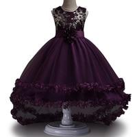 High Quality Girls Sleeveless Princess Children Flower Girl Dress For Wedding 2 12 Years Girls Trailing