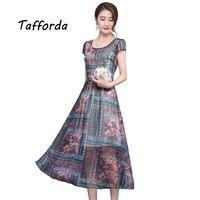 Tafforda Summer Dress 2017 High Waist Women S Short Sleeved Printed Silk Dress Female Casual Office