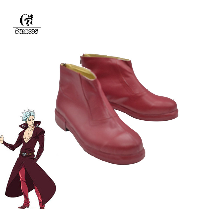 ROLECOS Seven Deadly Sins Cosplay Costume Ban Cosplay Shoes Men Red Boots Anime Cosplay Custome Size