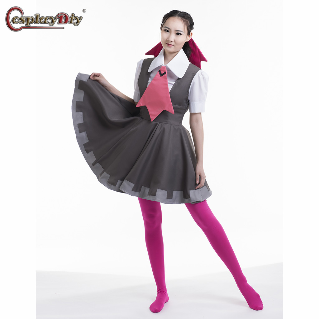 Cosplaydiy Pokemon Omega Ruby And Alpha Sapphire Roxanne Cosplay Costume Uniform Dress Women Halloween Carnival Clothes Dresses image